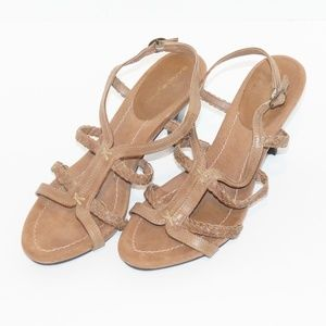 Bandolino Brown Leather Sandal Heels